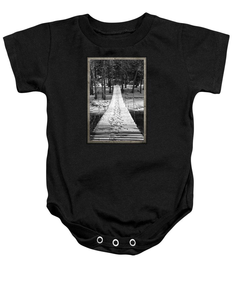 Foot Bridge Baby Onesie featuring the photograph Swinging Cable Foot Bridge by John Stephens