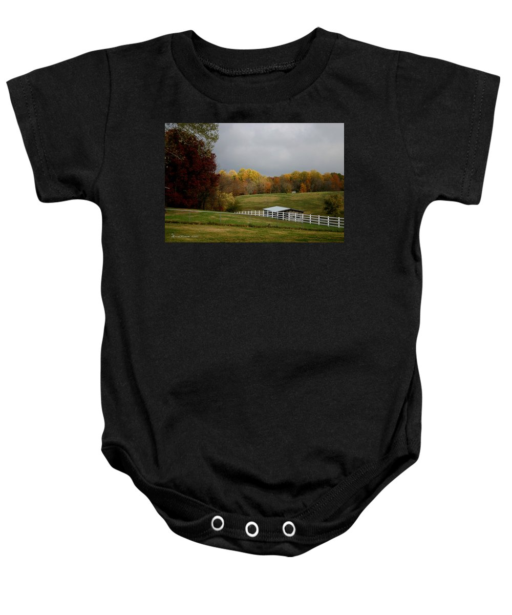 Fall Baby Onesie featuring the photograph Take A Deep Breath by Ericamaxine Price