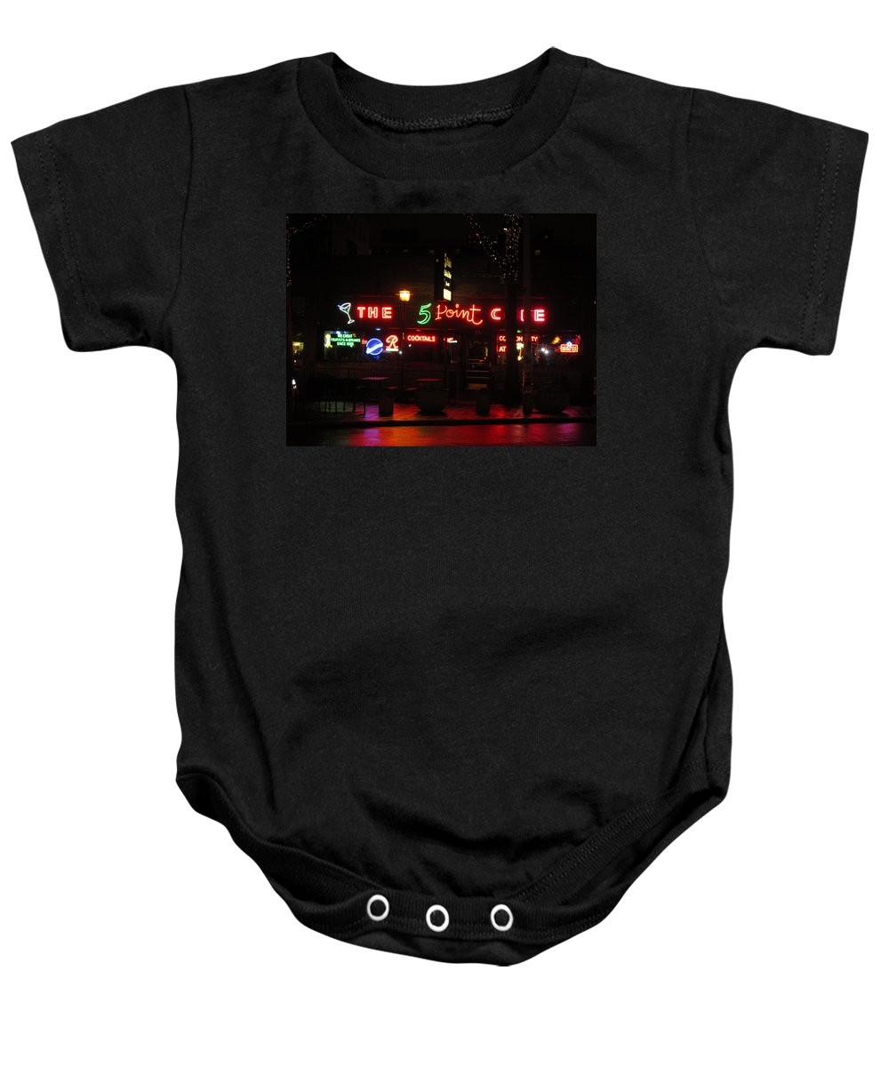 Signs Everywhere A Sign Baby Onesie featuring the photograph The 5 Point Cafe by Kym Backland