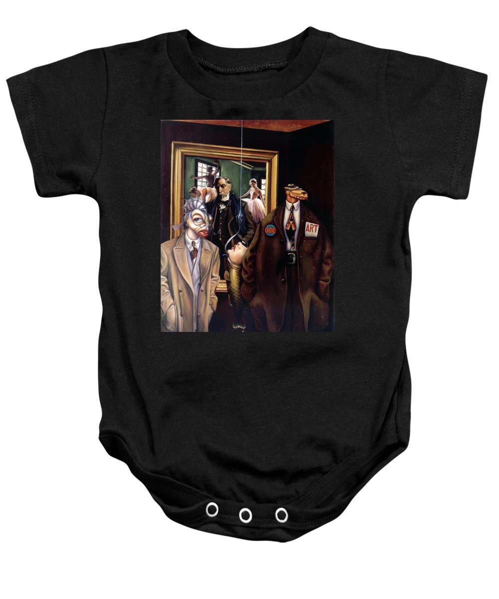 Coyote Baby Onesie featuring the painting The Art Critic by Patrick Anthony Pierson