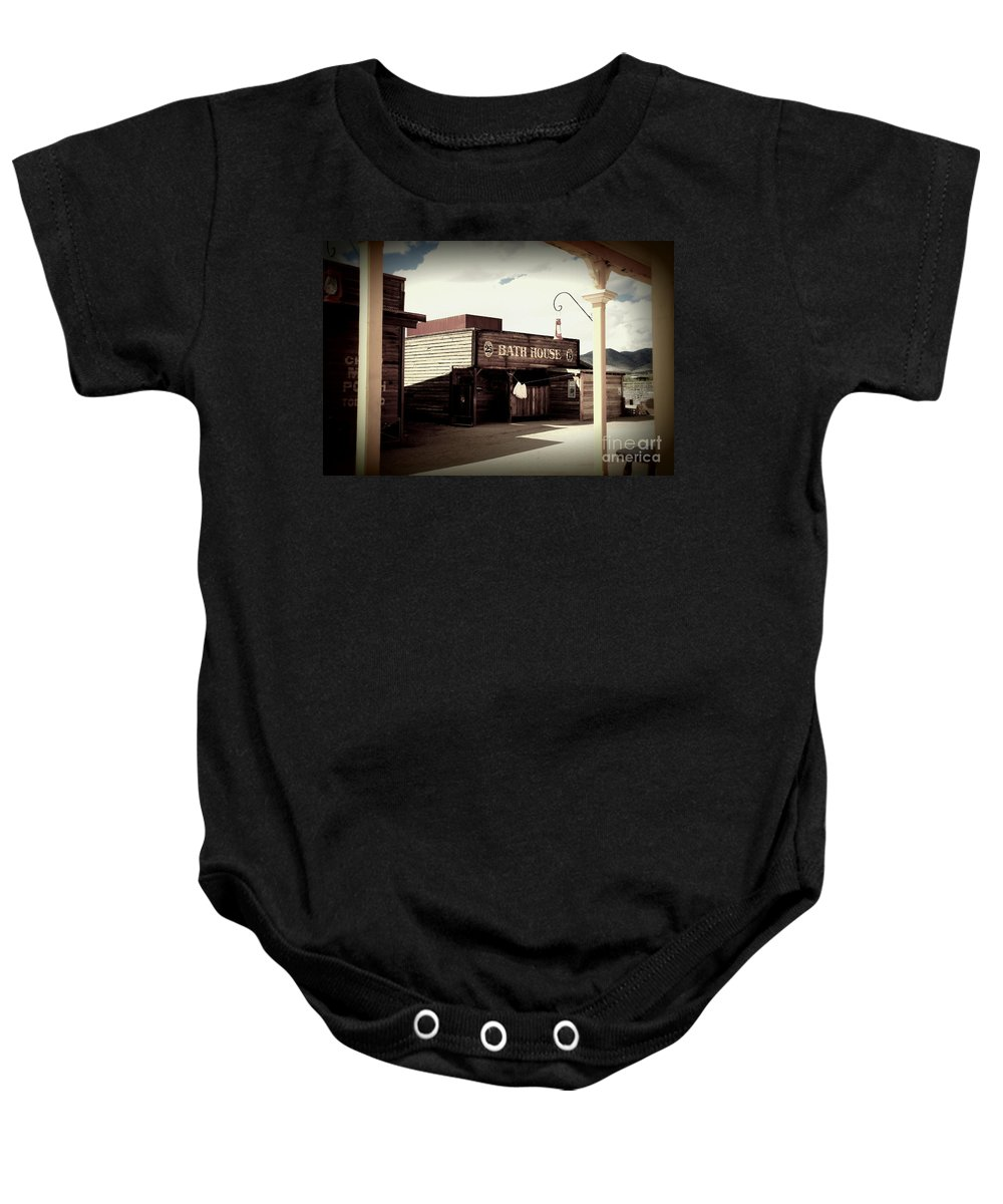 Bath House Baby Onesie featuring the photograph The Bath House In Old Tuscon Arizona by Susanne Van Hulst