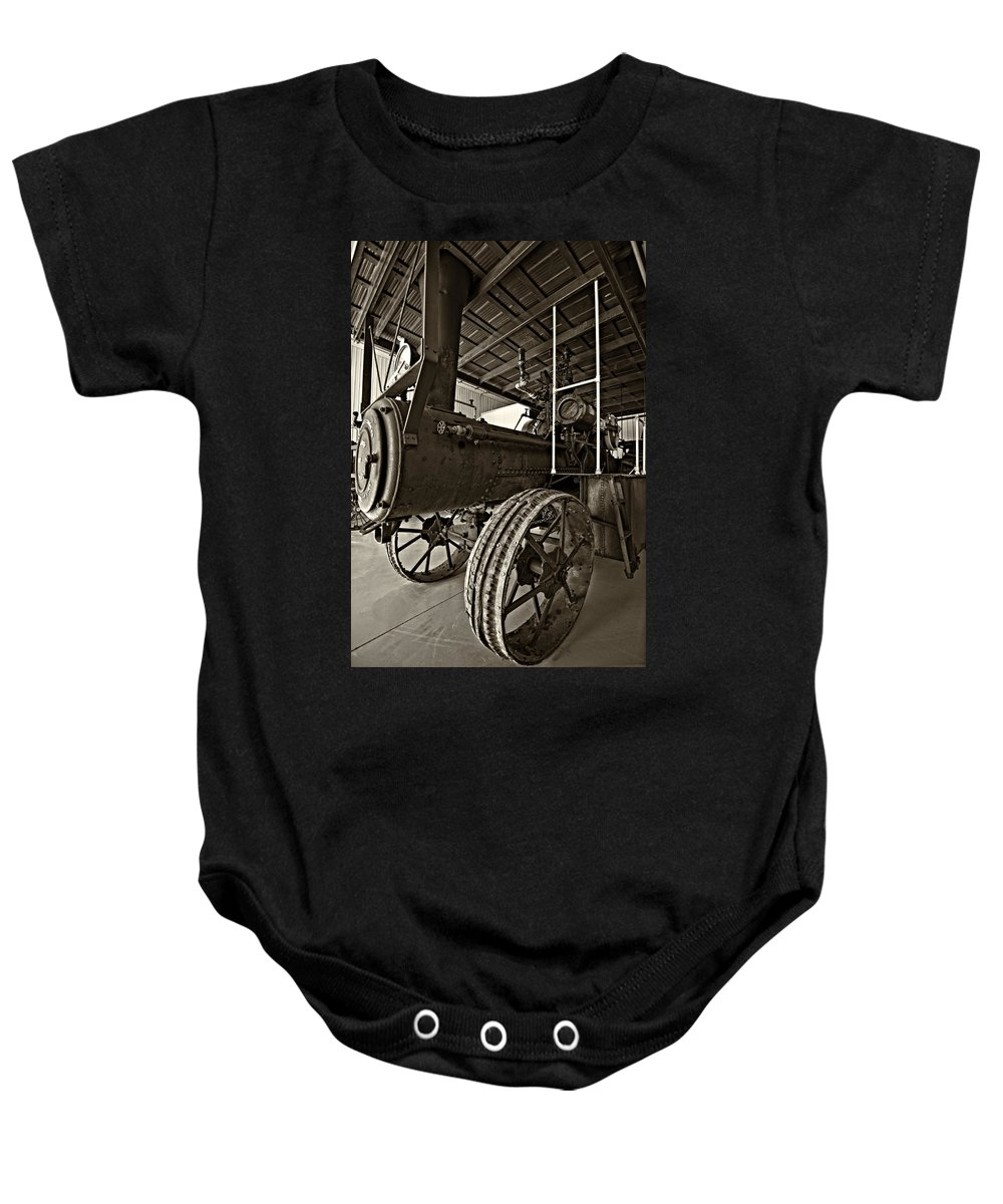 Grey Roots Museum & Archives Baby Onesie featuring the photograph The Beast Sepia by Steve Harrington