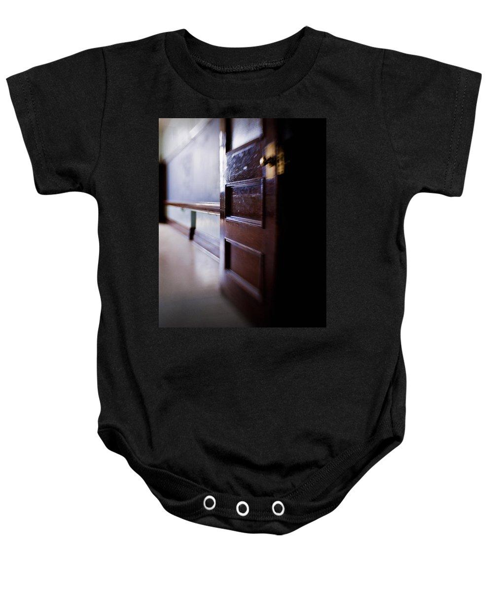 Door Baby Onesie featuring the digital art The Classroom Door by Diane Dugas