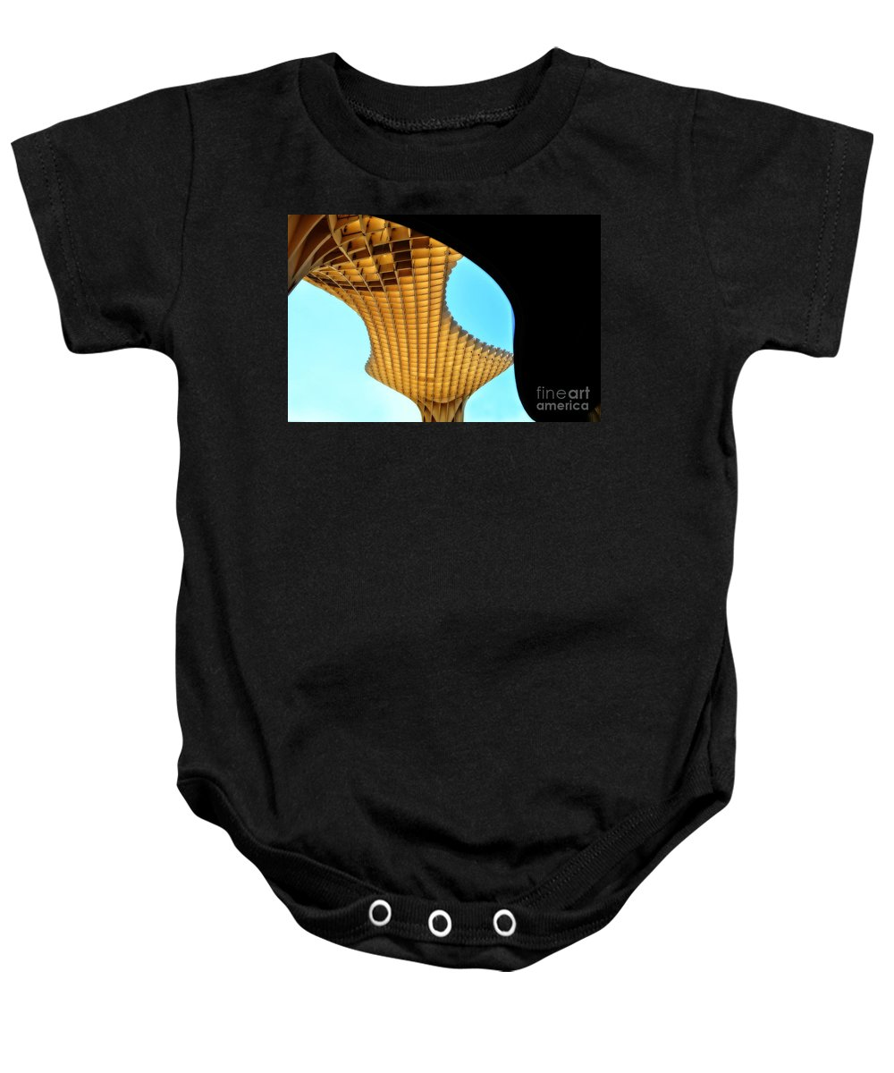 Metropol Parasol Baby Onesie featuring the photograph The Curves Of The Metropol Parasol by Mary Machare