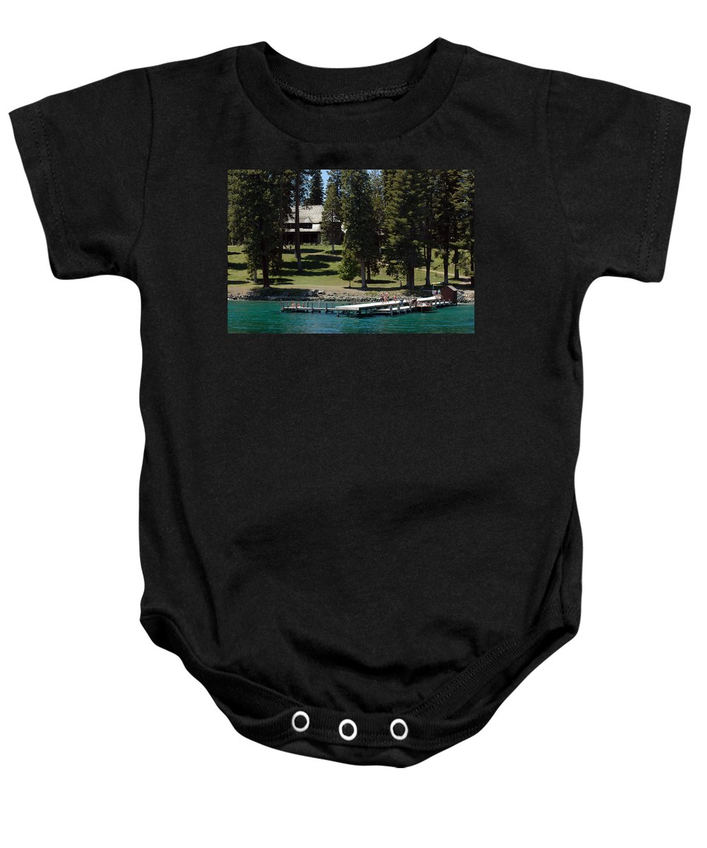 Usa Baby Onesie featuring the photograph The Dock At Sugar Pine Point State Park by LeeAnn McLaneGoetz McLaneGoetzStudioLLCcom