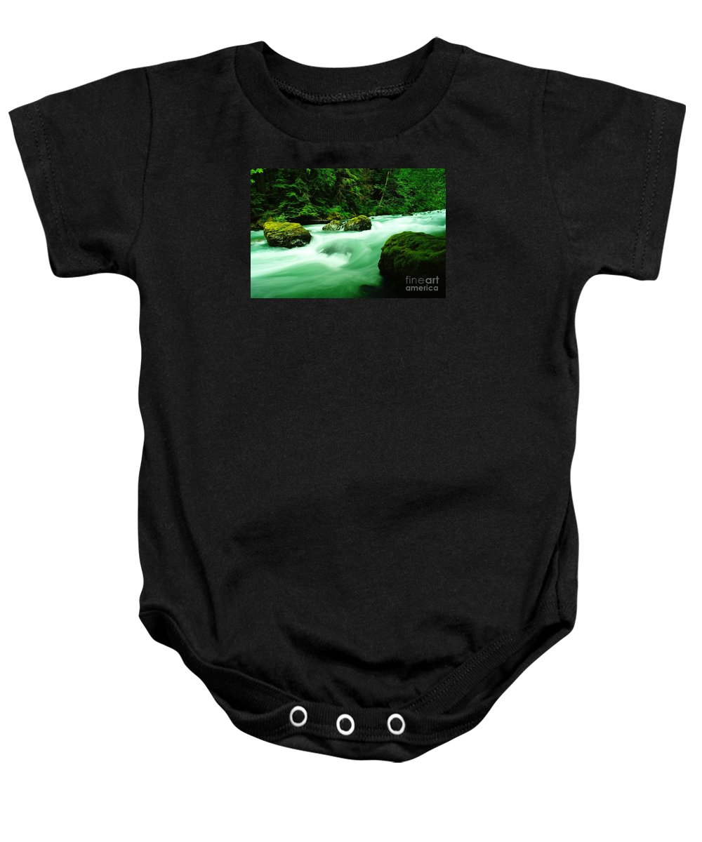 Rivers Baby Onesie featuring the photograph The Dosewallups River by Jeff Swan