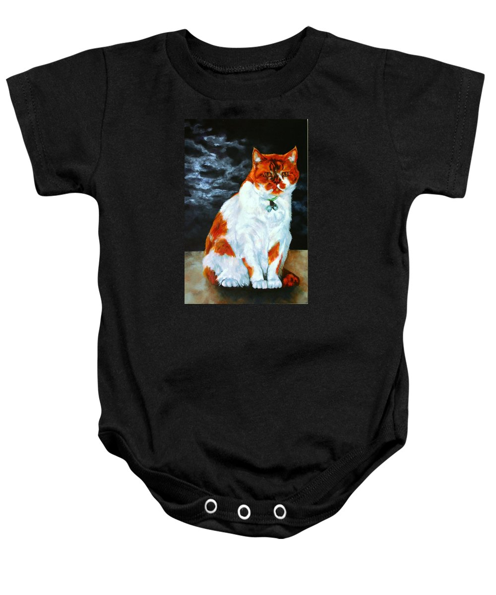Cat Baby Onesie featuring the painting The Emperor by Jolante Hesse