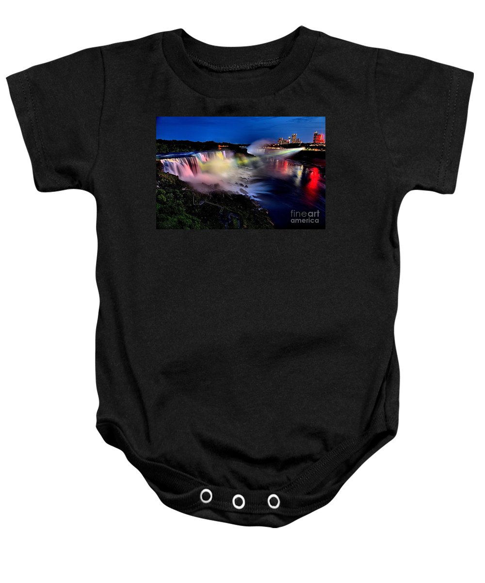 Niagara Falls Baby Onesie featuring the photograph The Evening Rainbow by Adam Jewell