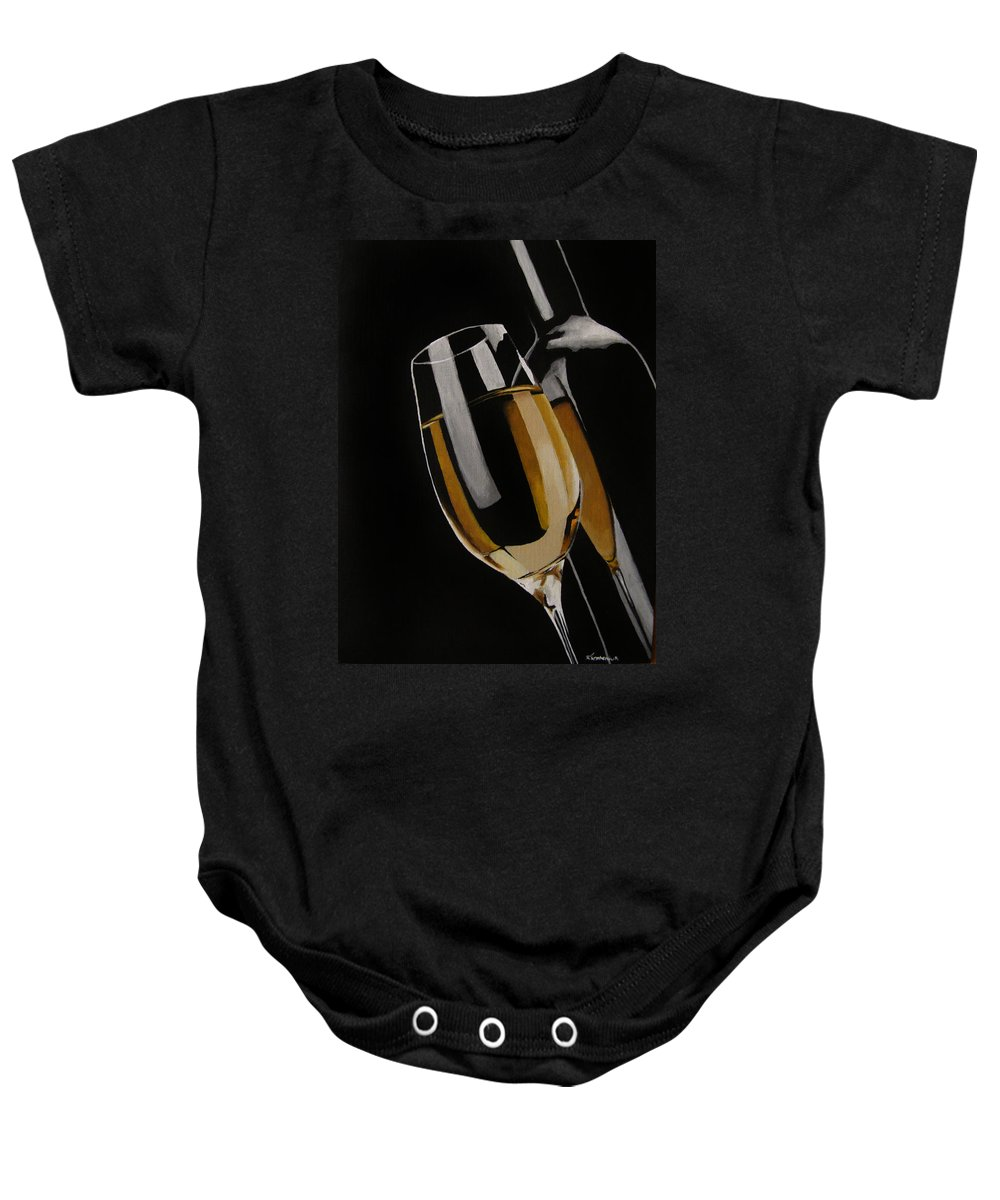 Wine Baby Onesie featuring the painting The Golden Years by Kayleigh Semeniuk