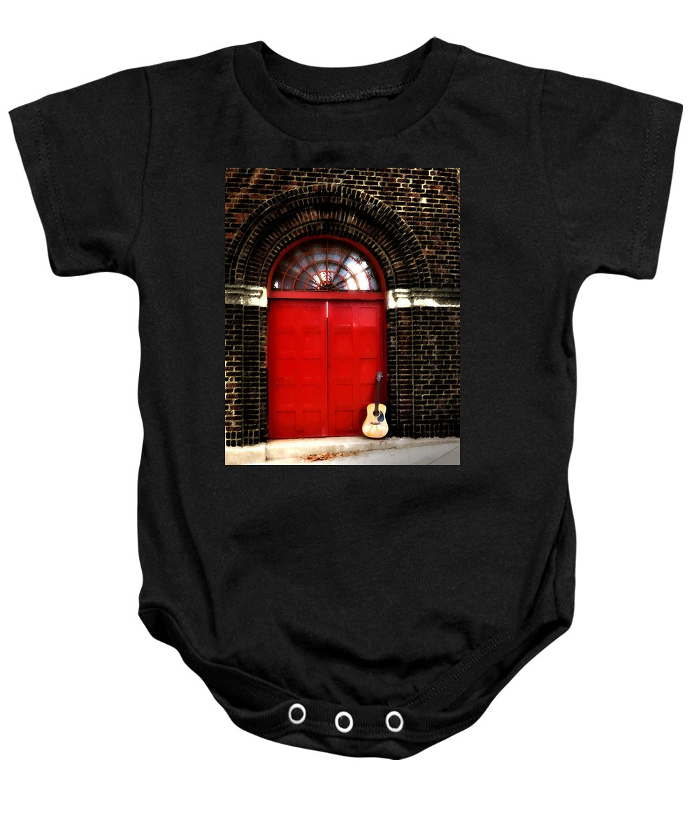 Guitar Baby Onesie featuring the photograph The Guitar And The Red Door by Bill Cannon