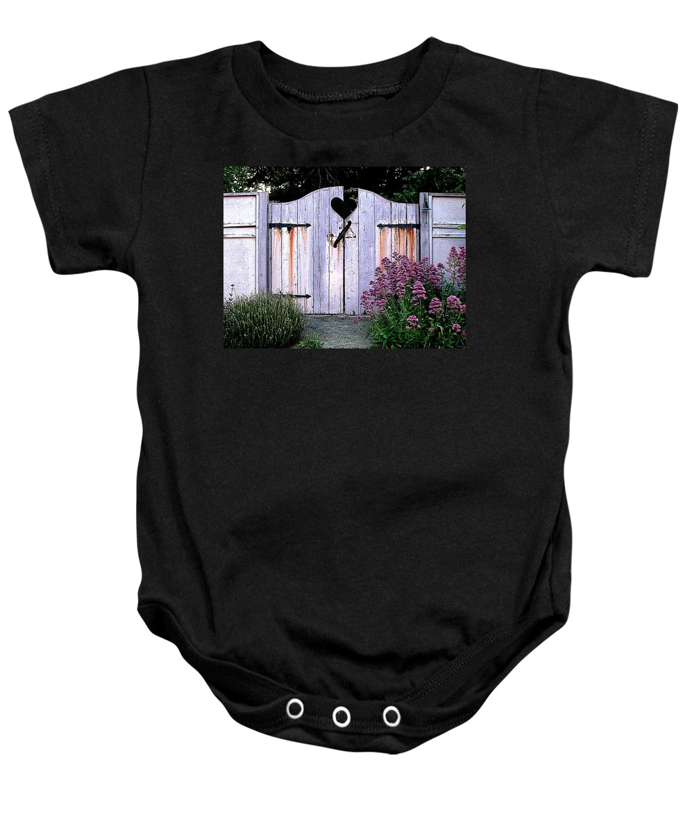 Fence Baby Onesie featuring the digital art The Heart, Like An Old Gate Needs Care And Attention by Ben Freeman
