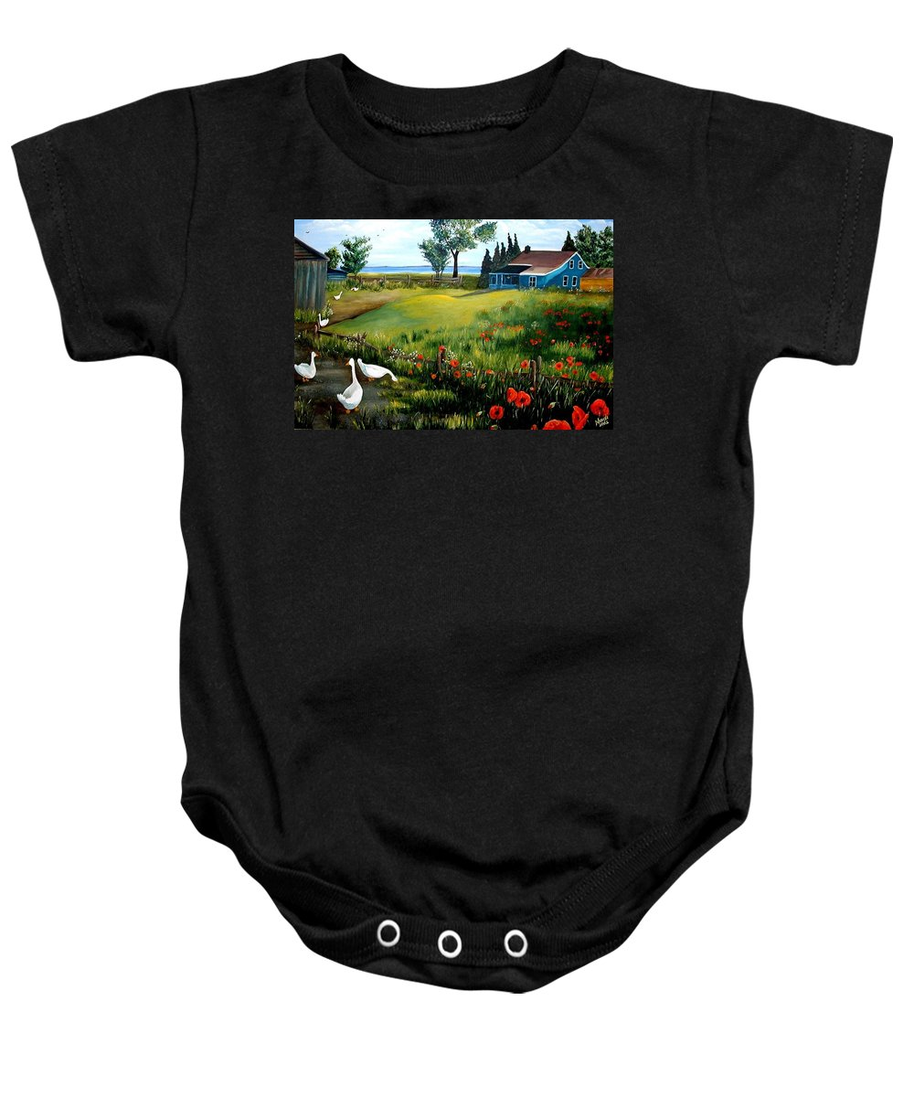 Farm Baby Onesie featuring the photograph The Homestead by Renate Nadi Wesley