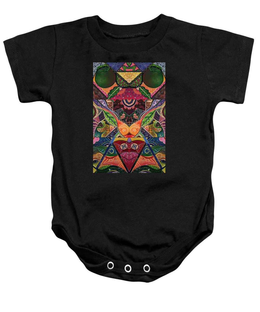 Abstract Baby Onesie featuring the digital art The Joy Of Design Series Arrangement Embracing Complexity by Helena Tiainen