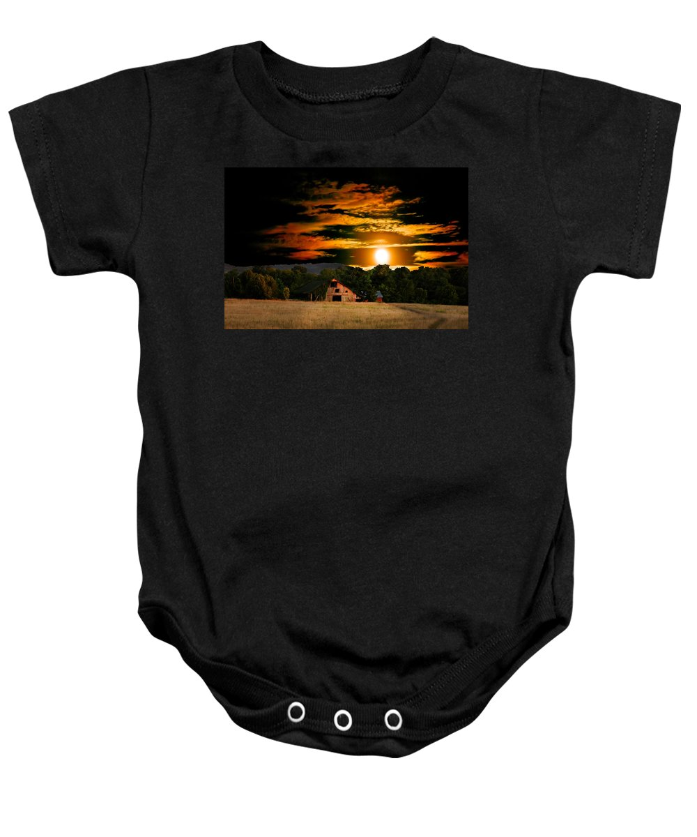 Harvest Moon Photos Baby Onesie featuring the photograph The Late Sam's Rd. Barn In The Moonlight by Randall Branham