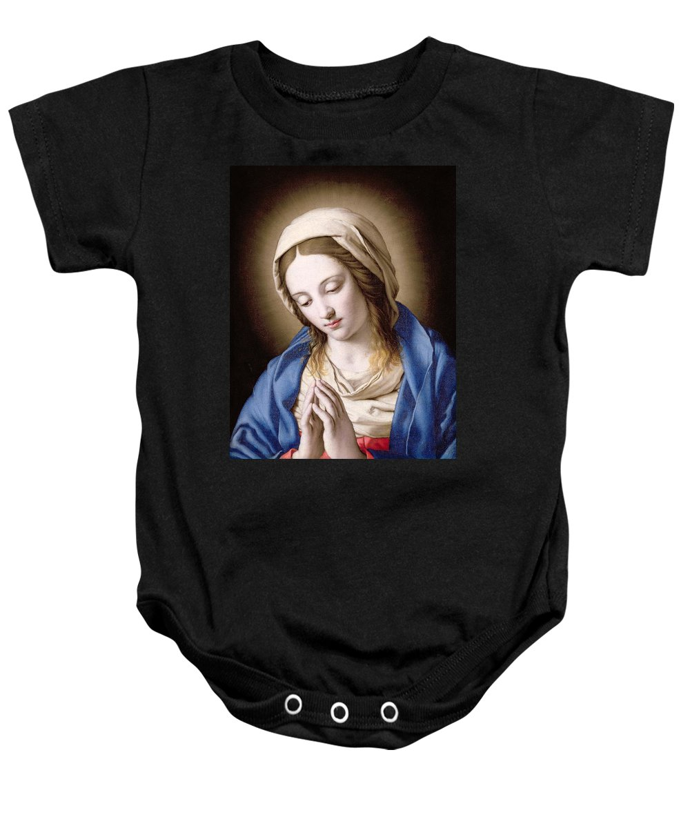 Mary Baby Onesie featuring the painting The Madonna Praying by Il Sassoferrato
