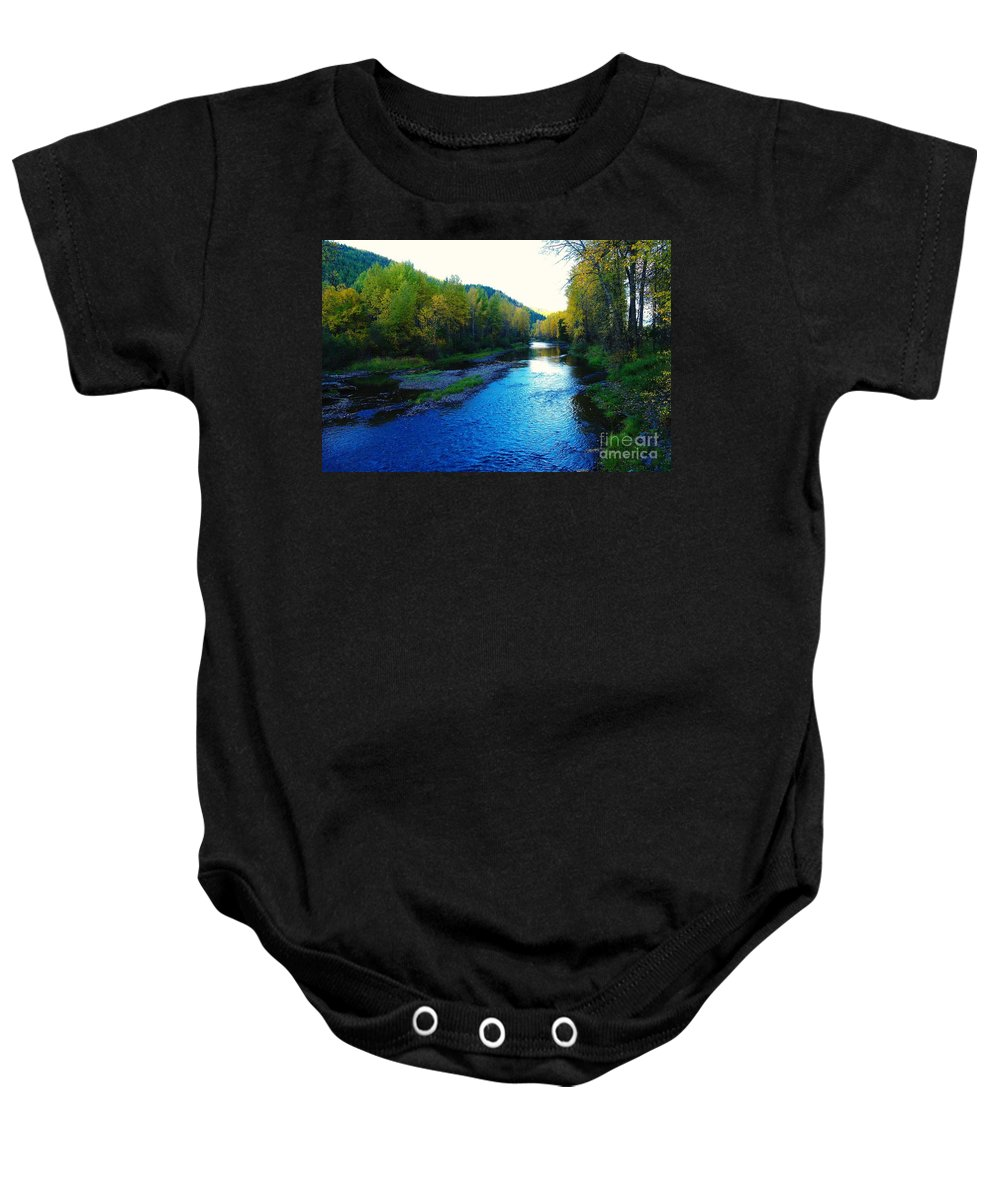 Autumn Baby Onesie featuring the photograph The Moyie River Near Yak B C by Jeff Swan