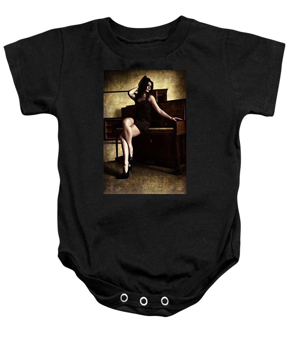Musician Baby Onesie featuring the digital art The Musician by Diane Dugas