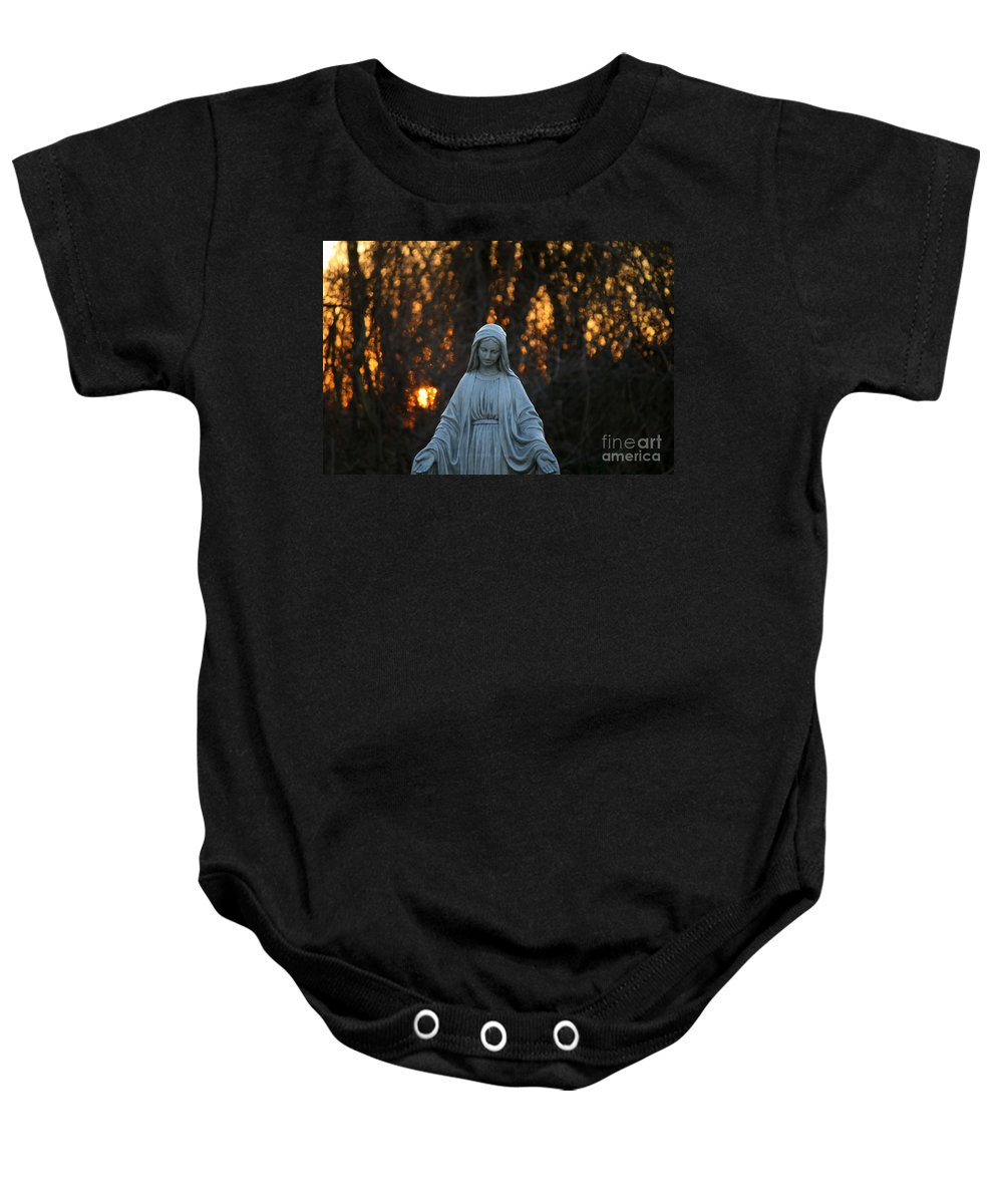 Mother Mary Statue Baby Onesie featuring the photograph The Offering by Neal Eslinger