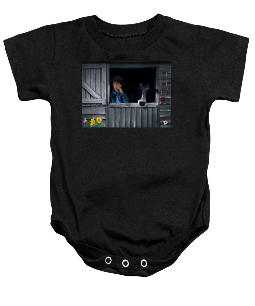 Cow Baby Onesie featuring the digital art The Old Bell Cow by David Dehner