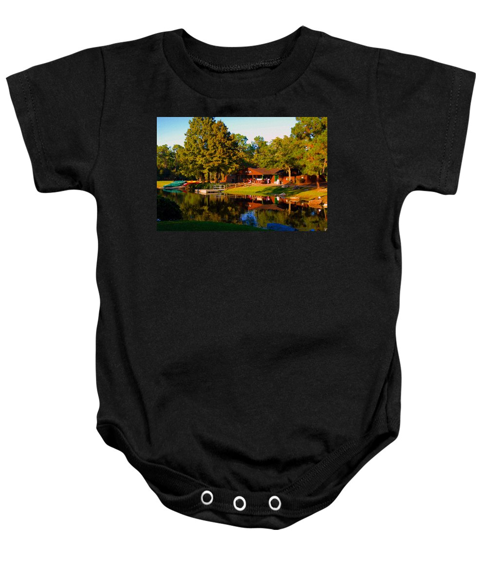 Art Baby Onesie featuring the painting The Old Bike Barn by David Lee Thompson