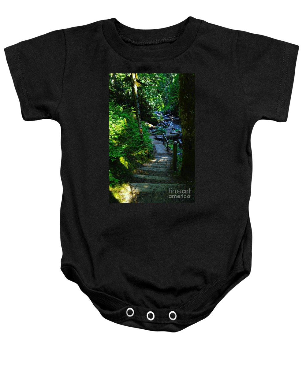 Path Baby Onesie featuring the photograph The Path To Iron Creek by Jeff Swan