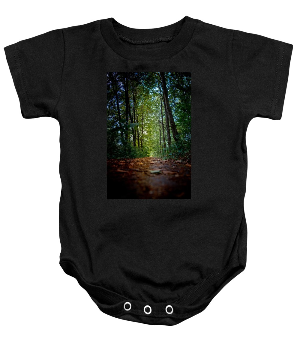 Alley Baby Onesie featuring the photograph The Pathway In The Forest by Michael Goyberg