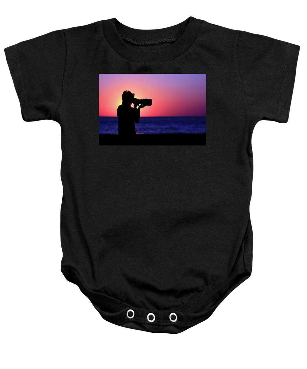 Sunset Baby Onesie featuring the photograph The Photographer by Rick Berk