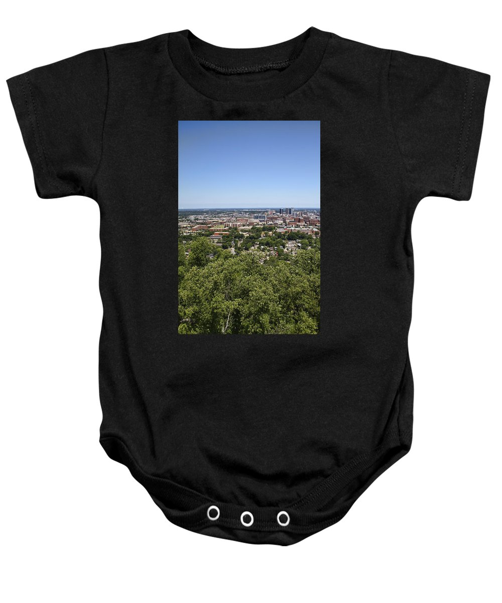 Birmingham Baby Onesie featuring the photograph The Southern City Of Birmingham Alabama by Kathy Clark