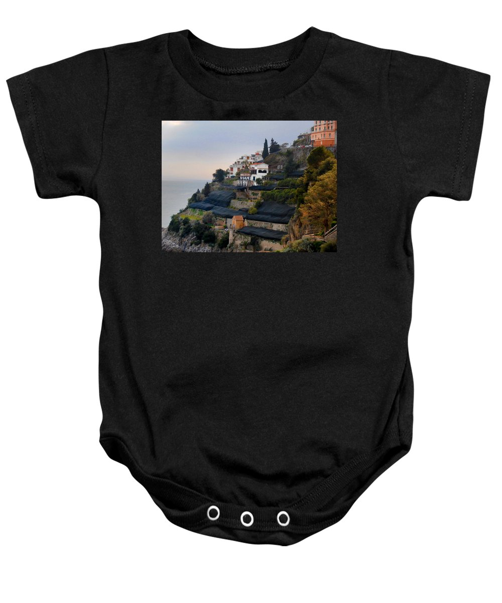 Amalfi By The Sea Baby Onesie featuring the photograph The Terraces Of Amalfi by Bill Cannon