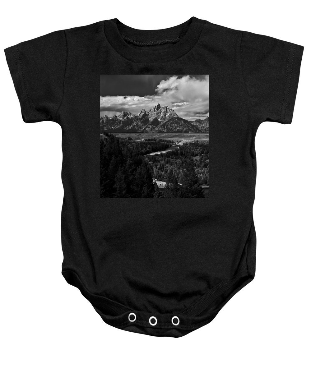 Grand Baby Onesie featuring the photograph The Tetons - Il Bw by Larry Carr