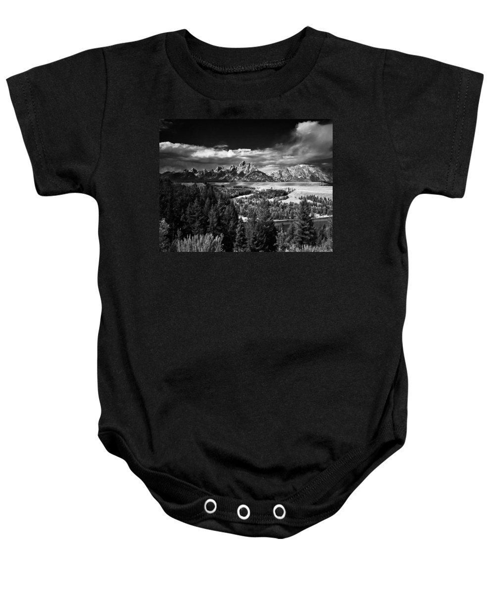 Grand Baby Onesie featuring the photograph The Tetons by Larry Carr