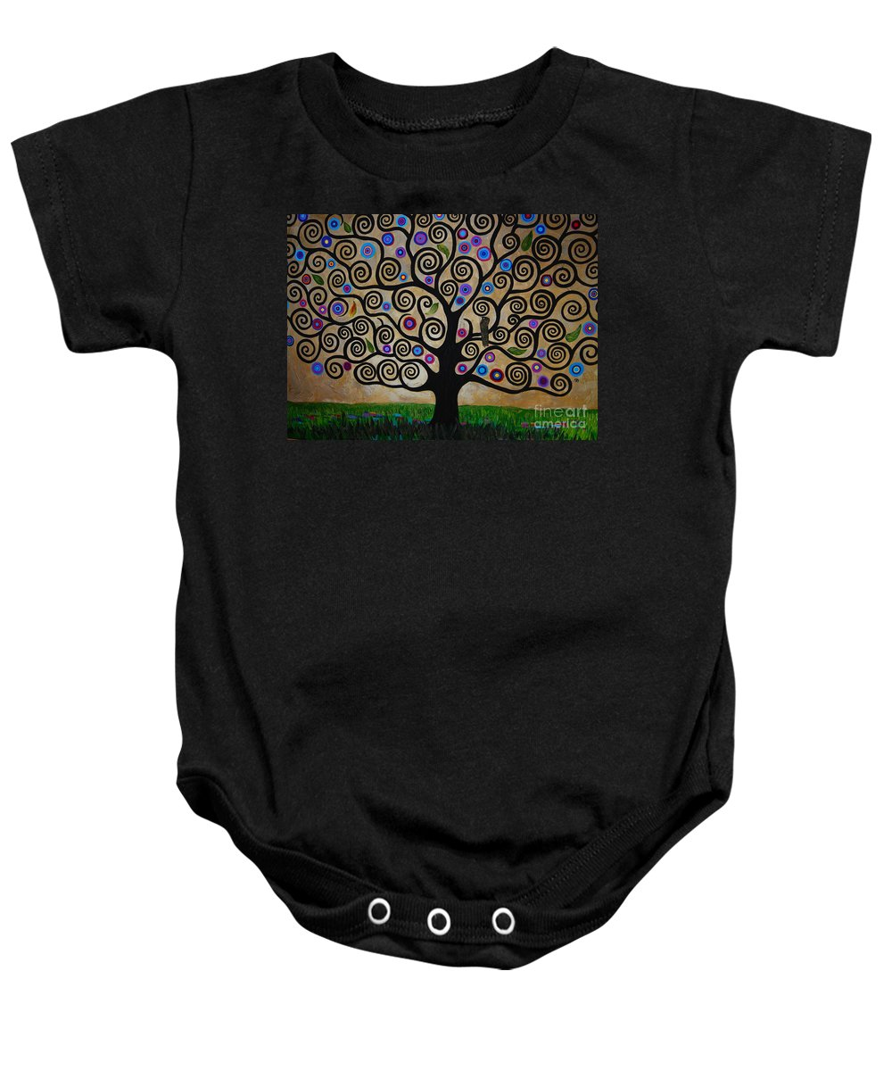 The Tree Of Life Baby Onesie featuring the painting The Tree Of Life by Samantha Black
