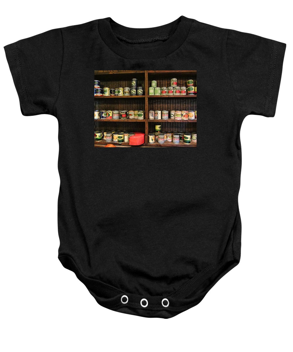 Canned Goods Baby Onesie featuring the photograph The Vintage Pantry At Vulcan by Kathy Clark