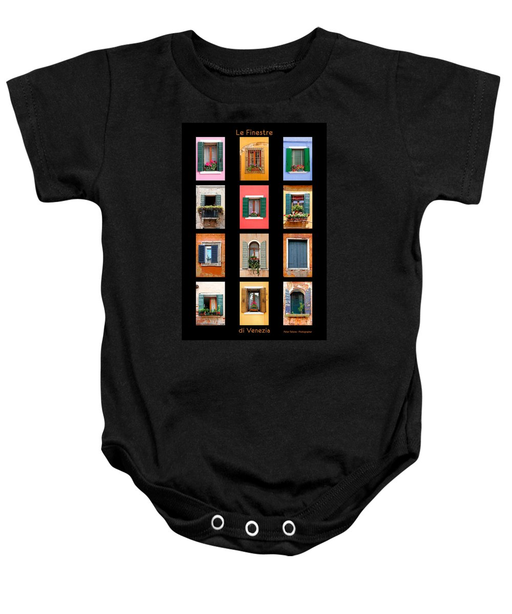 Architecture Baby Onesie featuring the photograph The Windows Of Venice by Peter Tellone