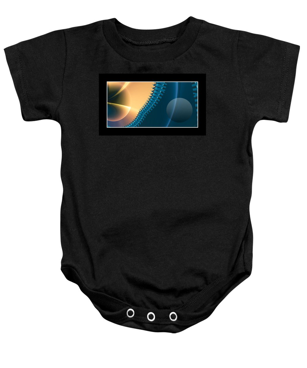 Fractal Baby Onesie featuring the digital art This Side Of The Moon by Betsy Knapp