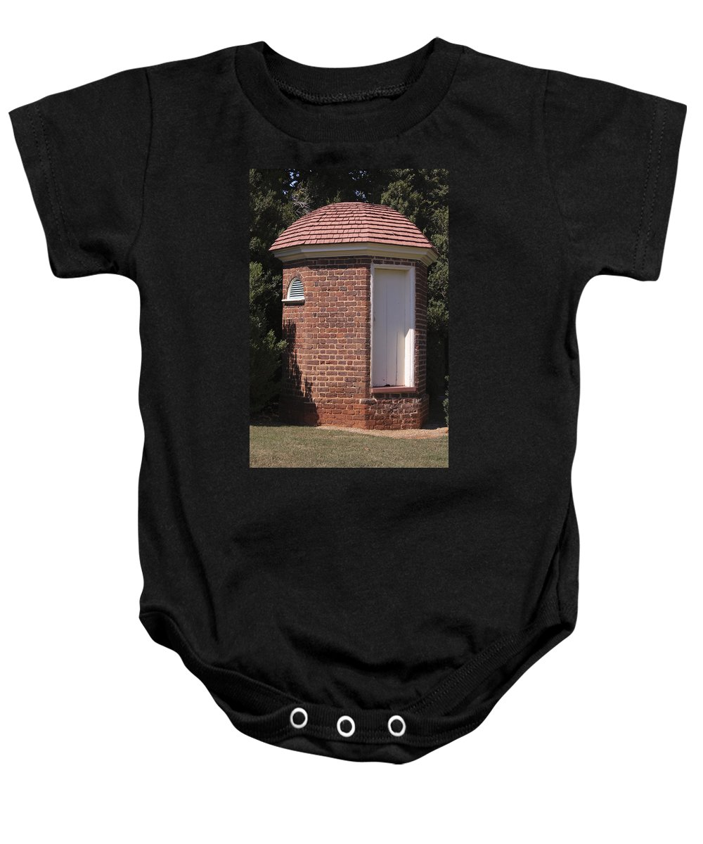 Poplar Forest Baby Onesie featuring the photograph Thomas Jeffersons Privy by Teresa Mucha