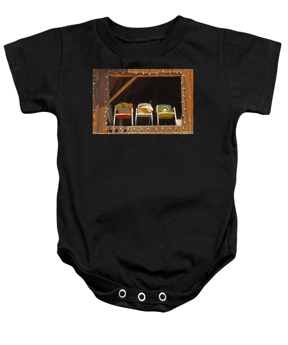 Three Baby Onesie featuring the photograph Three Chairs With A View by Mick Anderson