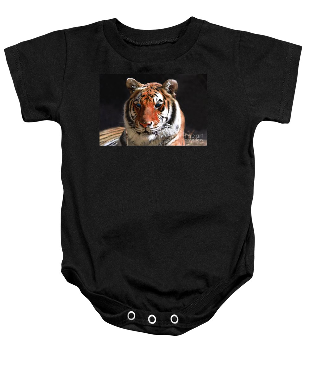 Tiger Baby Onesie featuring the photograph Tiger Blue Eyes by Rebecca Margraf
