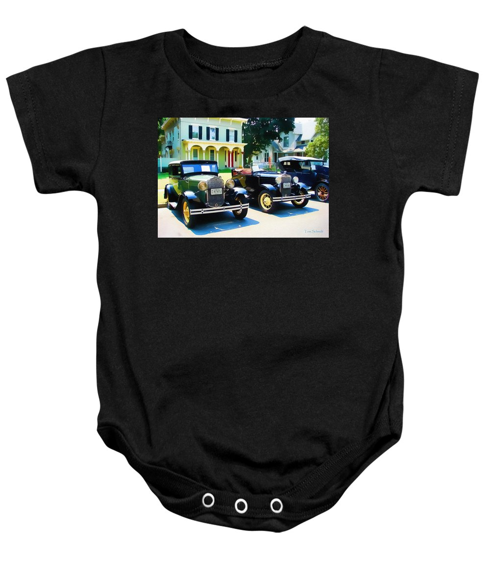 Antique Cars Baby Onesie featuring the digital art Times Gone By by Tom Schmidt