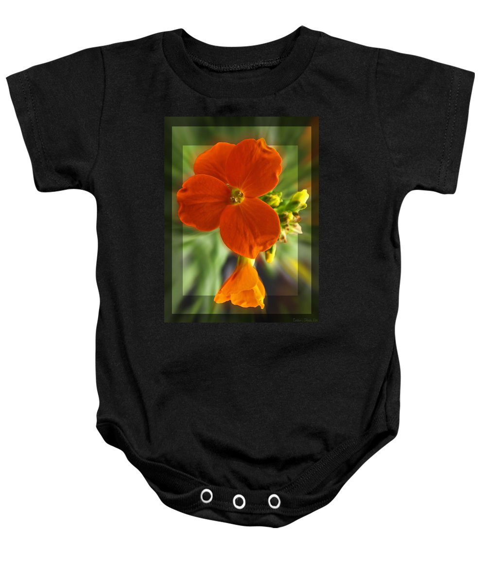 Nature Baby Onesie featuring the photograph Tiny Orange Flower by Debbie Portwood