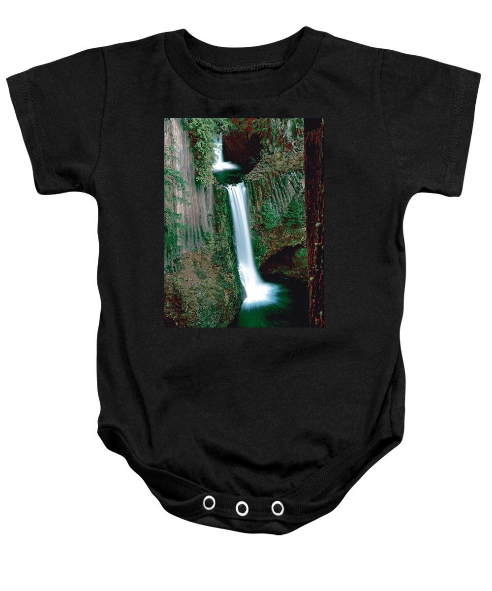 Waterfall Baby Onesie featuring the photograph Toketee Falls by Mike Penney