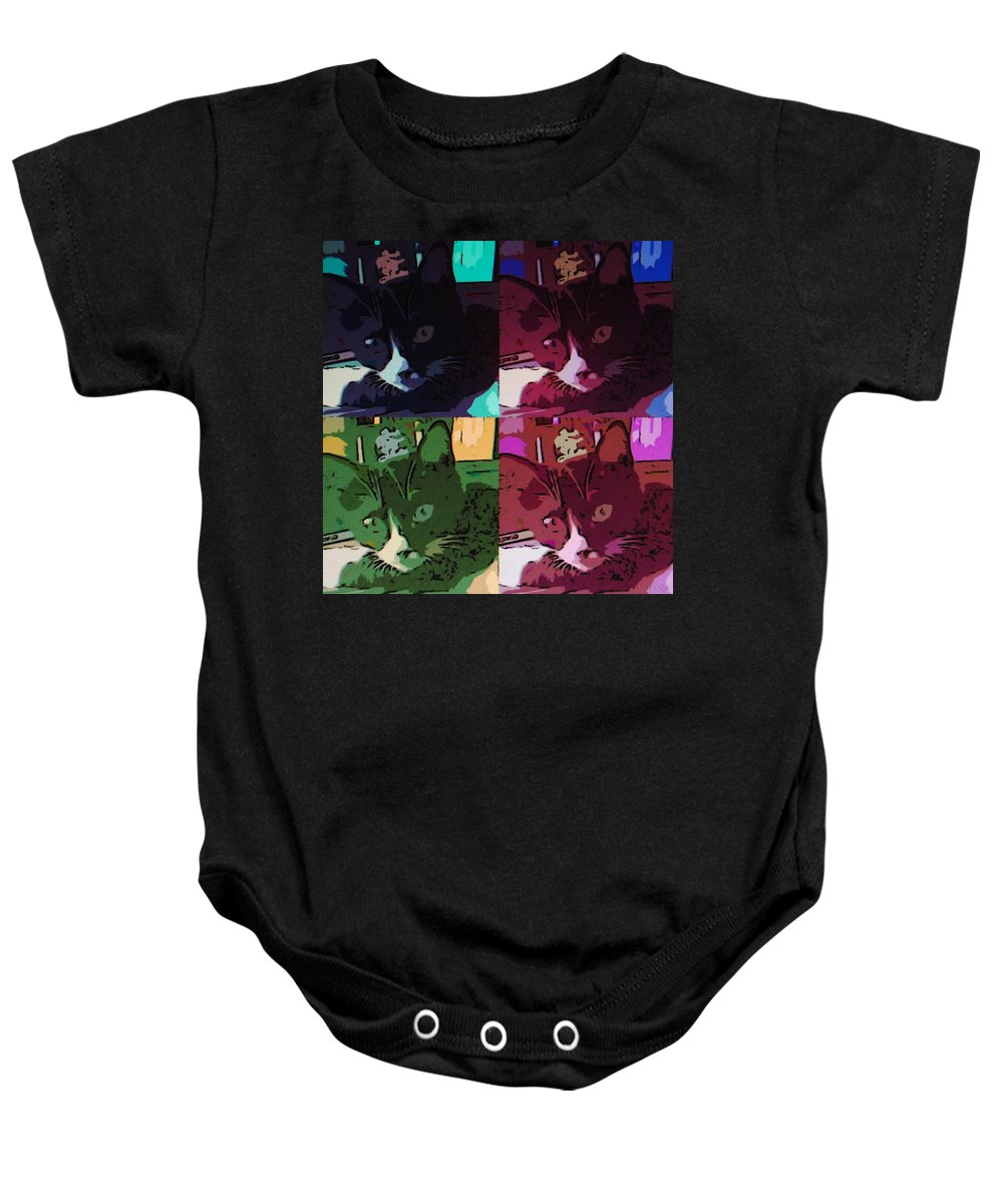 Cat Baby Onesie featuring the photograph Toonces In Quad by Rob Hans