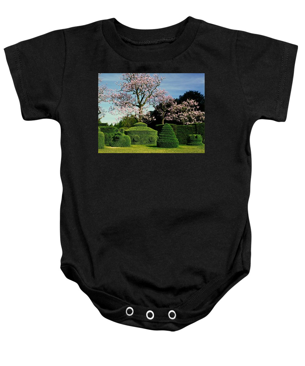 Topiary Garden Baby Onesie featuring the photograph Topiary Garden In Spring by Sally Weigand