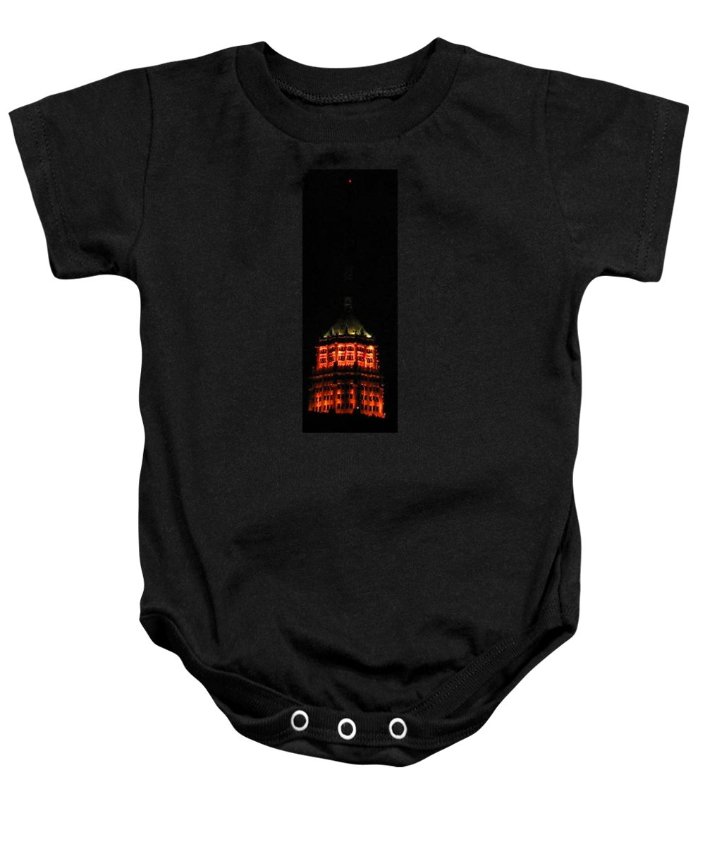 San-antonio Baby Onesie featuring the photograph Tower Life Building At Night by April Patterson