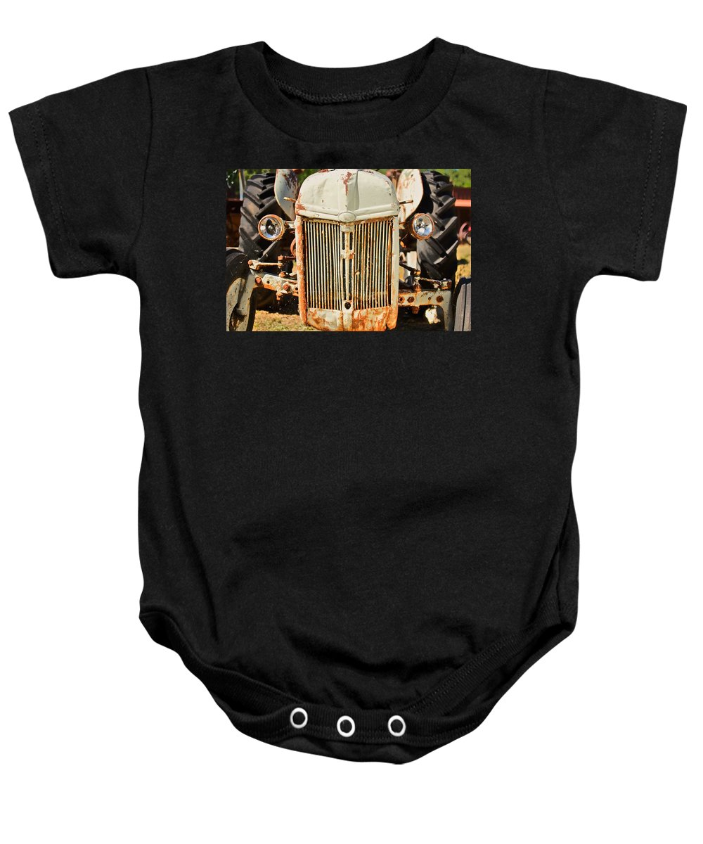 Grill Baby Onesie featuring the photograph Tractor Face by Gregory Dean