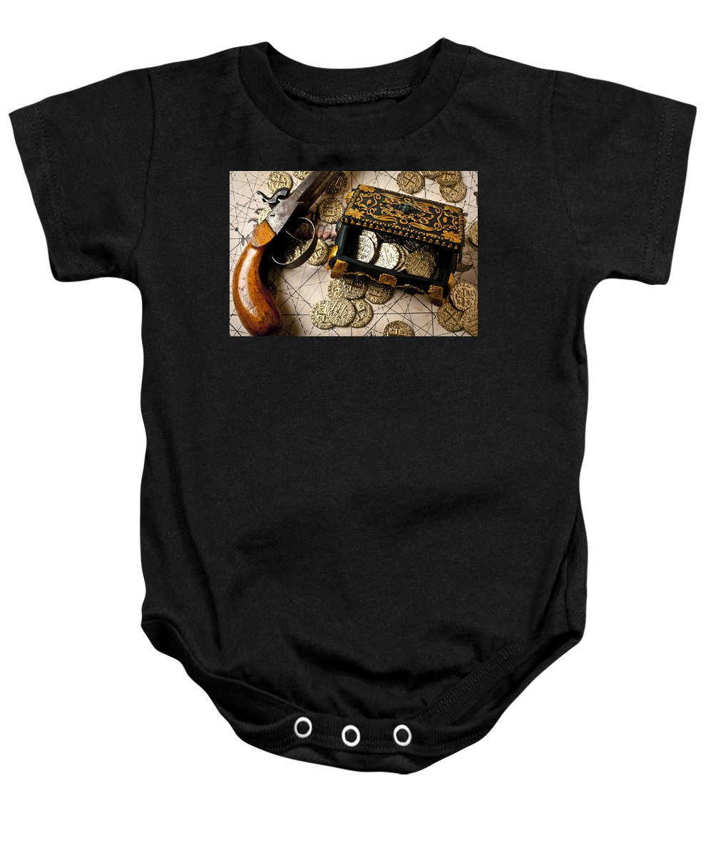 Gun Baby Onesie featuring the photograph Treasure Box With Old Pistol by Garry Gay