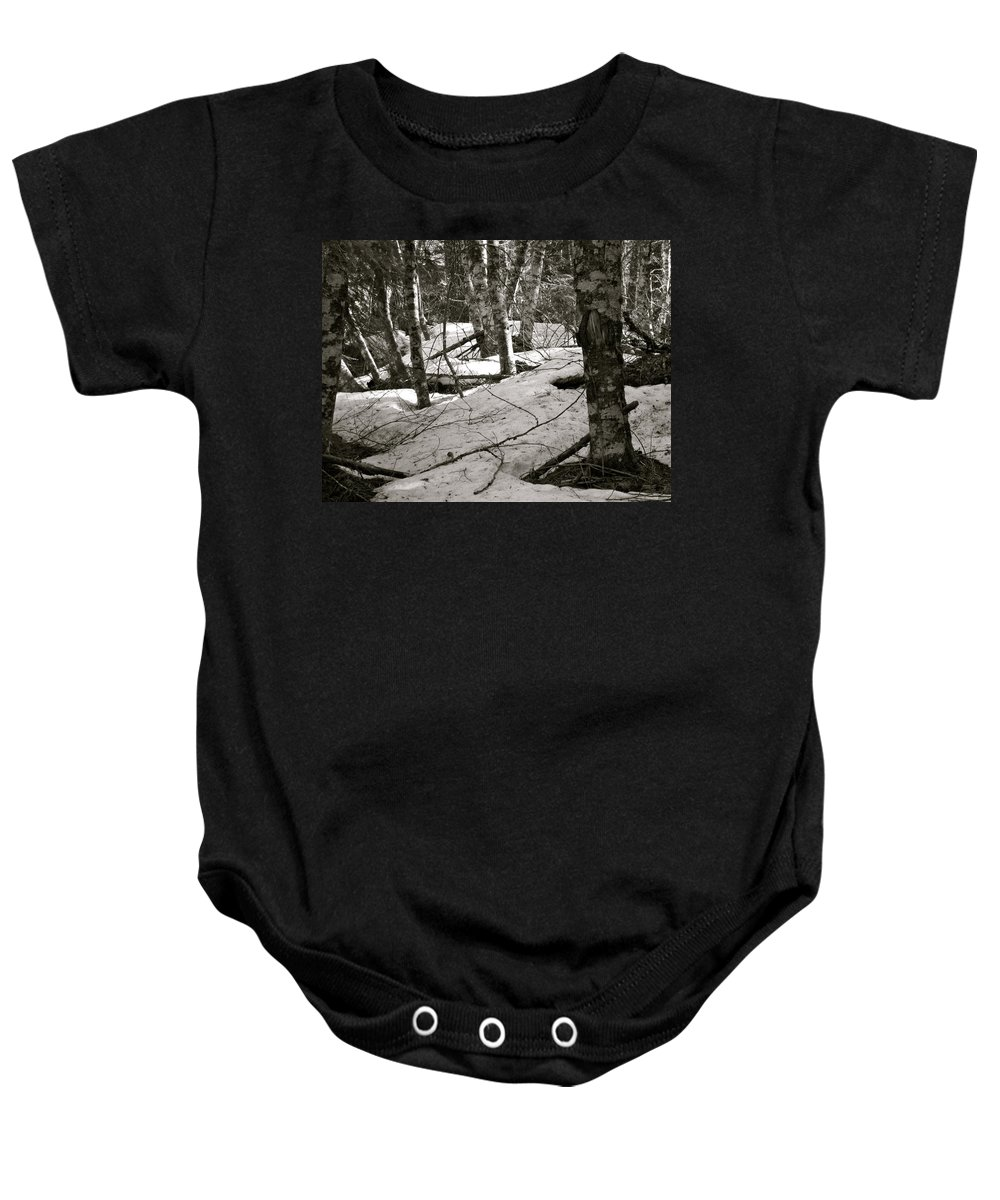 Trees Baby Onesie featuring the photograph Trees And Snow In April by Linda Hutchins