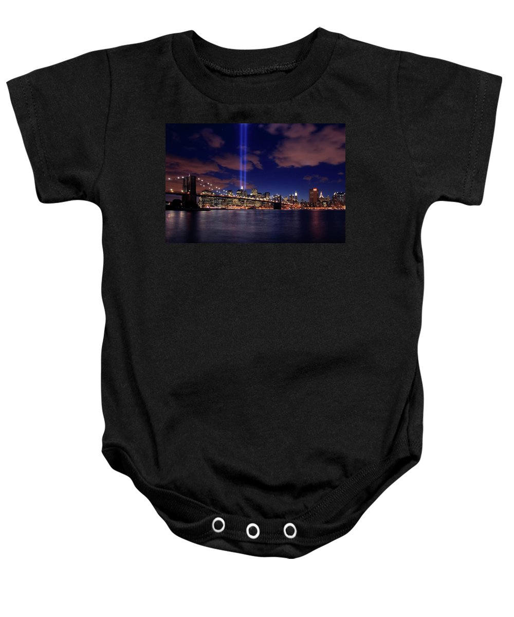 New York City Baby Onesie featuring the photograph Tribute In Light II by Rick Berk