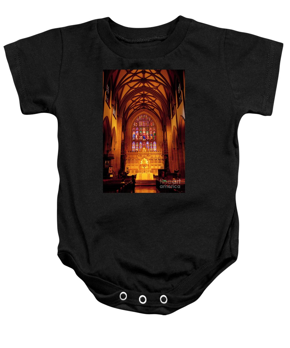 Trinity Baby Onesie featuring the photograph Trinity Church by Brian Jannsen