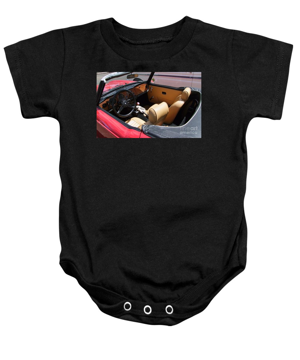 Triumph Tr6 Baby Onesie featuring the photograph Triumph Tr6 Seats by Mary Deal
